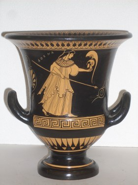 Greek Pottery Shop  CLASSICAL KRATER WITH THE GODESS ATHENA ON CLASSICAL GREEK POTTERY KRATER