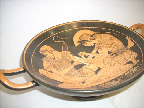 CLASSICAL RED FIGURED KILIX WITH ACHILLEAS CURING THE WOUNDS OF HIS BEST FRIEND PATROKLOS CLASSICAL GREEK POTTERY KILIX