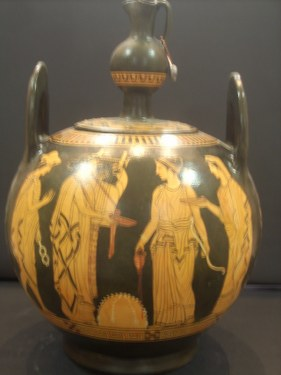 Greek Pottery Shop  CLASSICAL  REDFIGURED LEBES  WITH APOLLON ARTEMIS HERMES AND LETO ON THE ONE SIDE AND CASTOR WITH HIS BROTHER POLYDEYKES ON THE OTHER SIDE.450B.C. CLASSICAL GREEK POTTERY LEBES GAMMIKOS