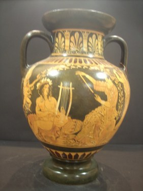 CLASSICAL RED FIGURED AMPHORA WITH APOLLON AND APHRODITE ON CLASSICAL GREEK POTTERY AMPHORA