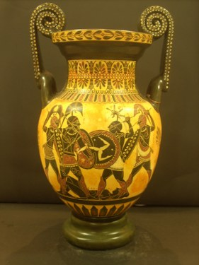 Greek Pottery Shop  CLASSICAL BLACK FIGURED AMPHORA WITH THE TROYAN WAR  CLASSICAL GREEK POTTERY AMPHORA