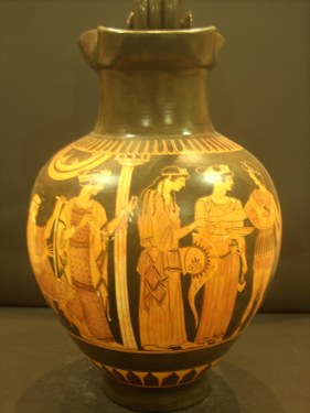 Greek Pottery Shop  BLACK FIGURED OINOCHOE WITH ACHILLEAS AND FOINIX ON . CLASSICAL GREEK POTTERY OENOCHOE