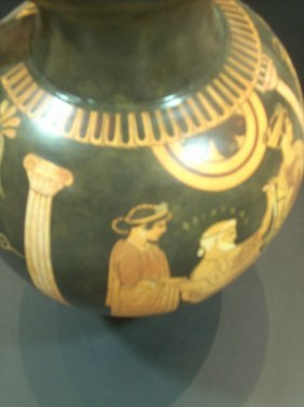 BLACK FIGURED OINOCHOE WITH ACHILLEAS AND FOINIX ON . CLASSICAL GREEK POTTERY OENOCHOE