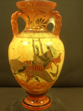 Greek Pottery Shop  CLASSICAL AMPHORA WITH APOLLON ON HIS DOLPHIN FREE DESIGNED AMPHORA