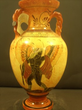 CLASSICAL AMPHORA WITH APOLLON ON HIS DOLPHIN FREE DESIGNED AMPHORA