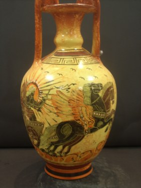 Greek Pottery Shop  CLASSICAL AMPHORA WITH APOLLON ON THE CHARIOT OF THE SUN FREE DESIGNED AMPHORA