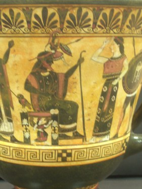 Greek Pottery Shop  CLASSICAL BLACK FIGURED KRATER WITH THE BIRTH OF ATHENA FROM THE HEAD OF ZEUS ON THE ONE SIDE AND THE WEDDING OF POSEIDON ON THE OTHER SIDE CLASSICAL GREEK POTTERY KRATER