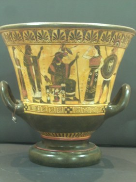 CLASSICAL BLACK FIGURED KRATER WITH THE BIRTH OF ATHENA FROM THE HEAD OF ZEUS ON THE ONE SIDE AND THE WEDDING OF POSEIDON ON THE OTHER SIDE CLASSICAL GREEK POTTERY KRATER