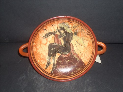 Greek Pottery Shop  CLASSICAL KILIX WITH EROS ON FREE DESIGNED KILIX