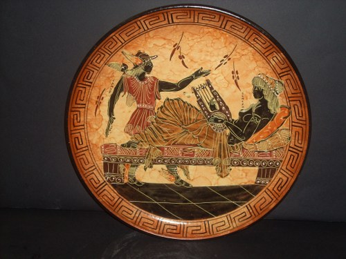 Greek Pottery Shop  CLASSICAL PLATE WITH HERMES AND SEMELI ON FREE DESIGNED PLATES
