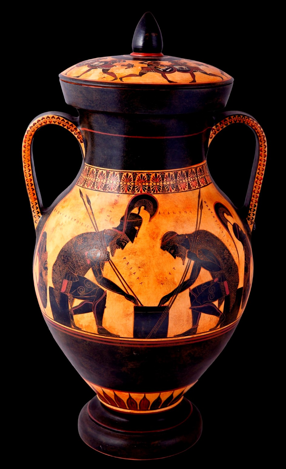 Greek Pottery Shop  Classical black figured amphora with Achilles and Ajax playing dice CLASSICAL GREEK POTTERY AMPHORA
