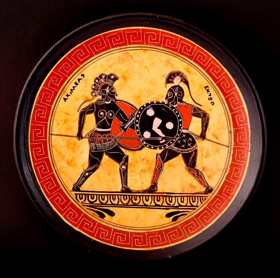 Greek Pottery Shop  CLASSICAL PLATE WITH ACHILLES AND HECTOR FREE DESIGNED PLATES