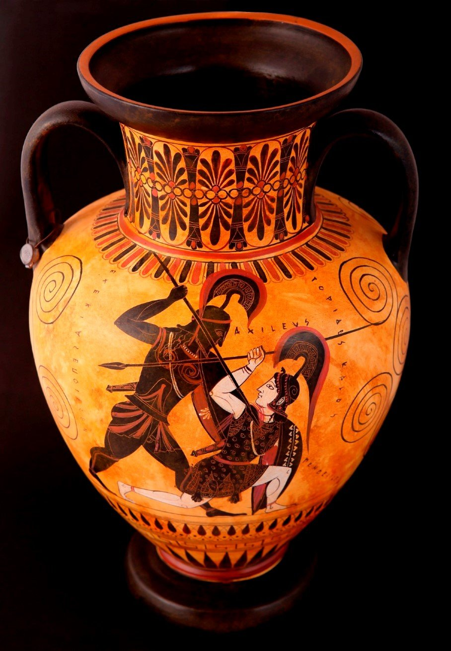 Greek Pottery Shop  CLASSICAL BLACK FIGURED AMPHORA WITH ACHILLES AND PENTHESILEA CLASSICAL GREEK POTTERY AMPHORA