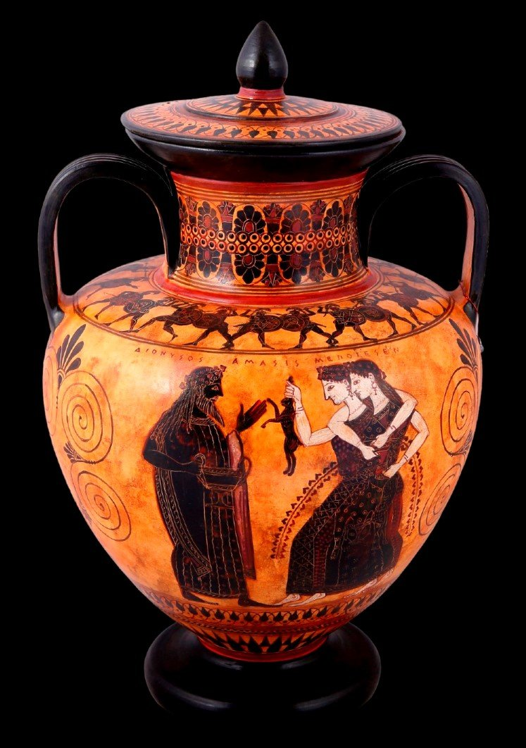 Greek Pottery Shop  CLASSICAL BLACK FIGURED AMPHORA DECORATED  WITH DIONYSUS  MAENADS CLASSICAL GREEK POTTERY AMPHORA