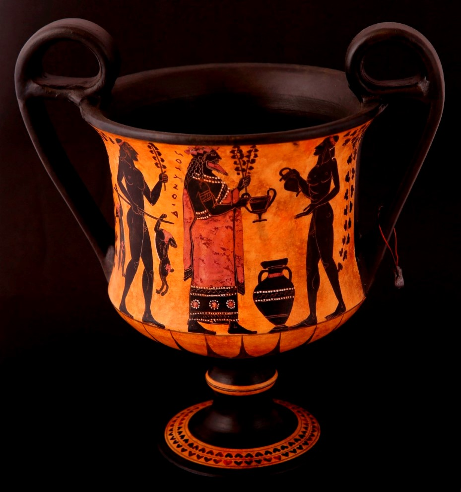 CLASSICAL KANTHAROS WITH DIONYSOS ON. CLASSICAL GREEK POTTERY KANTHAROS