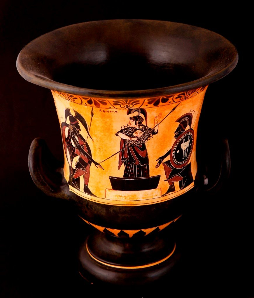 Greek Pottery Shop  CLASSICAL BLACK FIGURED KRATER DECORATED WITH ACHILLES,ATHENA AND AJAX CLASSICAL GREEK POTTERY KRATER
