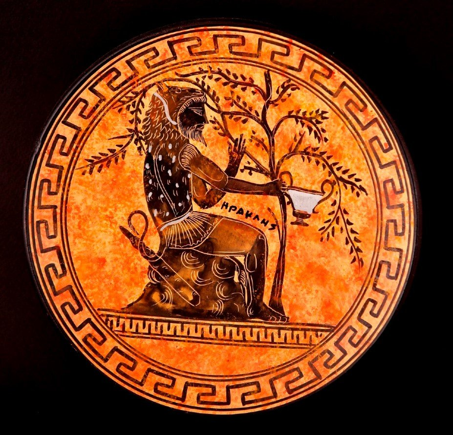 Greek Pottery Shop  CLASSICAL PLATE WITH HERCULES	 FREE DESIGNED PLATES