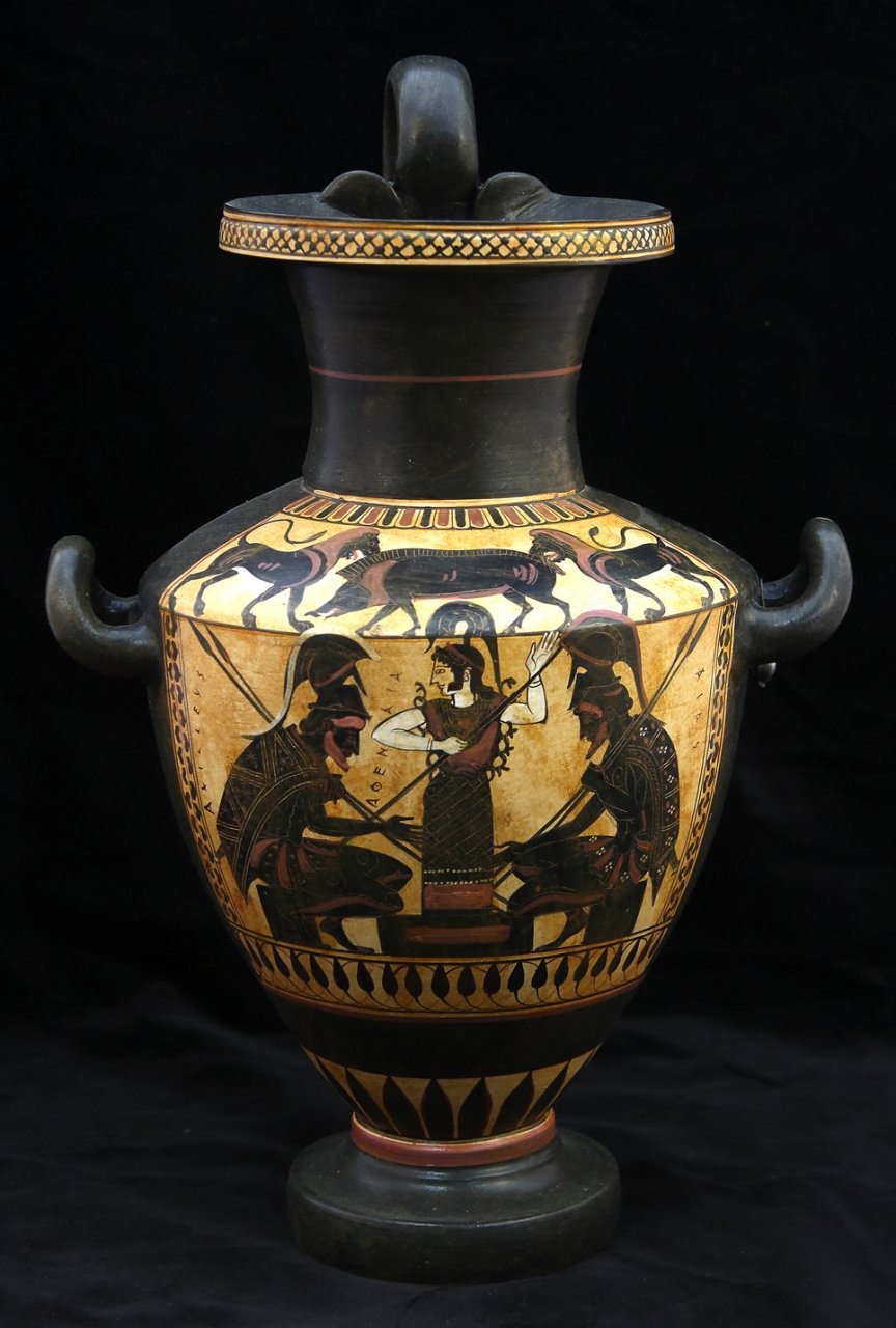 Greek Pottery Shop  BLACK FIGURED HYDRIA WITH ACHILLEAS AND AJAX PLAYING ZATRIKION  AND THE GODESS ATHENA WATCHING CLASSICAL GREEK POTTERY HYDRIA