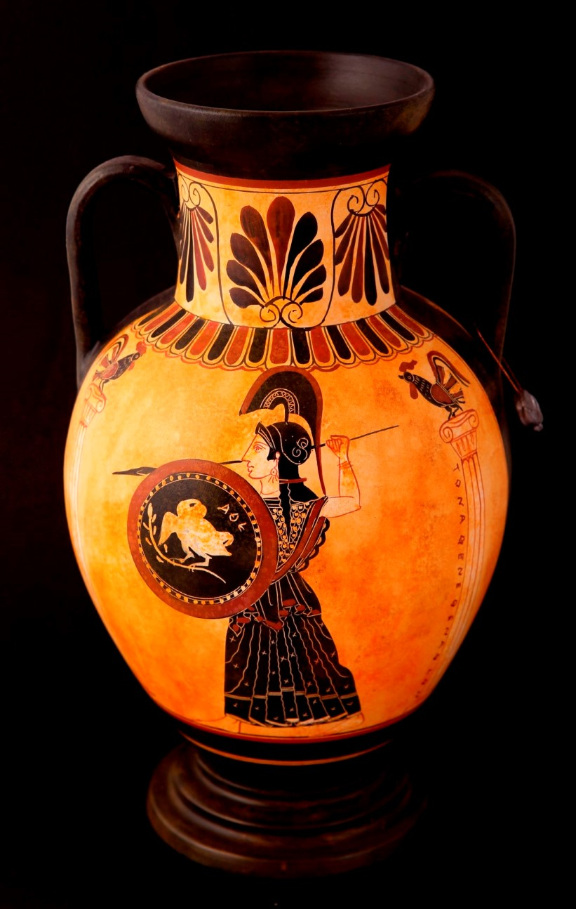 THE CLASSICAL PANATHENEAN AMPHORA WITH THE GODESS ATHENA AND THE RUNNERS CLASSICAL GREEK POTTERY AMPHORA