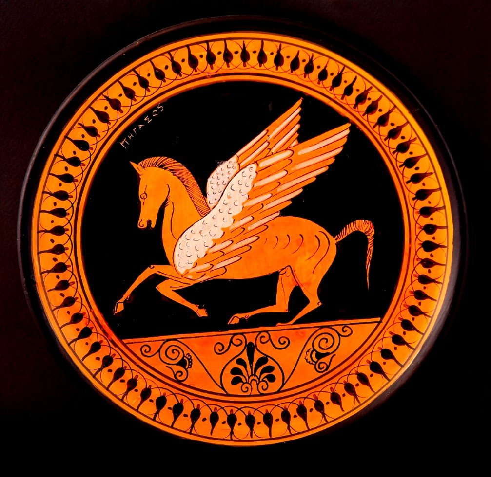 Greek Pottery Shop  CLASSICAL PLATE WITH PEGASUS FREE DESIGNED PLATES